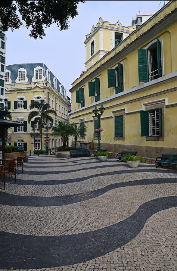 Praça da cidade histórica velha bonita de Macau de Largo de Santo Agostinho fotografia de stock royalty free