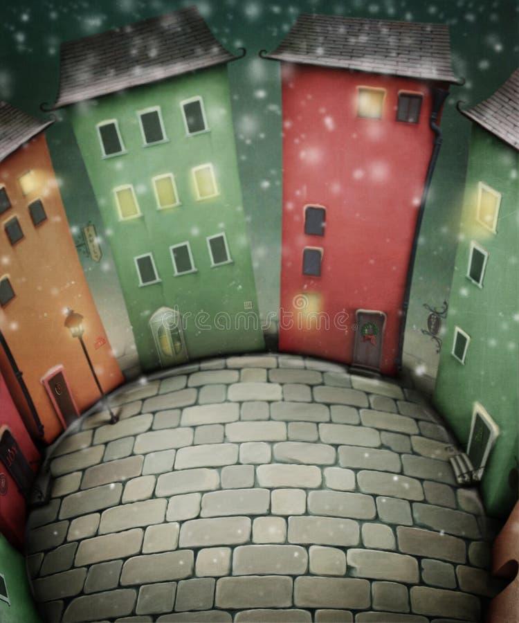 Praça da cidade pequena na noite de Natal ilustração royalty free