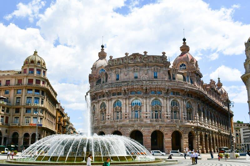 Praça De Ferrari, Genoa, Itália foto de stock royalty free