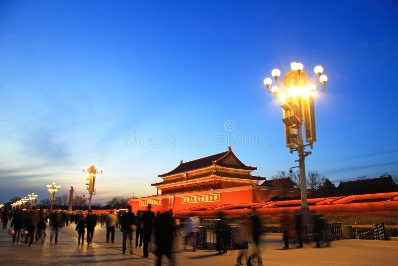 Praça de Tiananmen na noite foto de stock royalty free