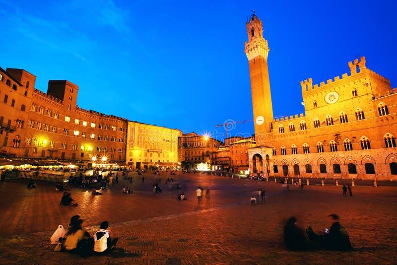 Praça del Campo com Palazzo Pubblico, Siena fotografia de stock royalty free