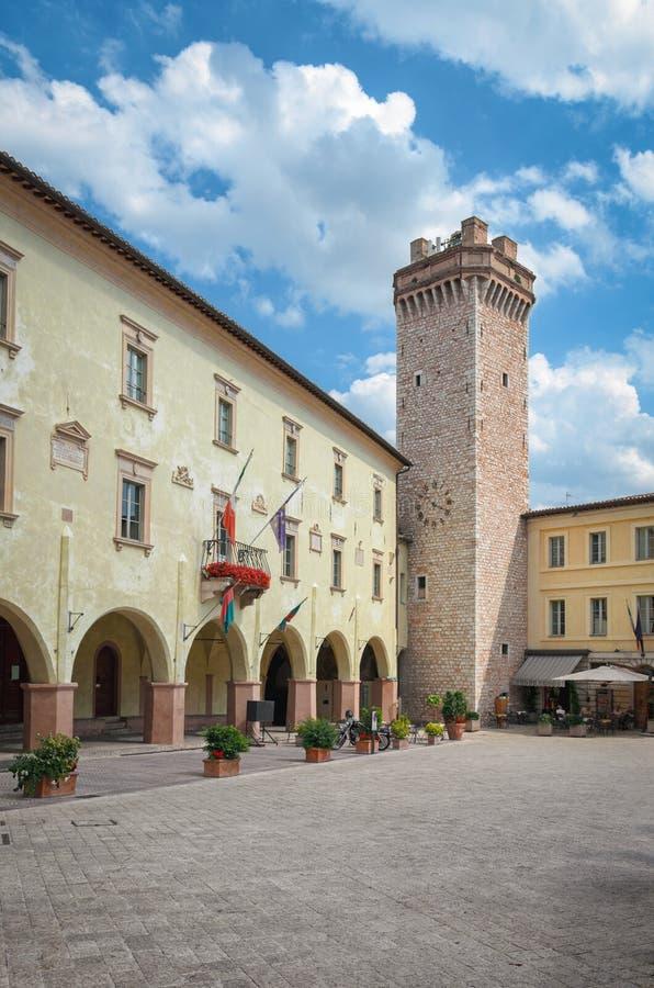 Praça Mazzini do Trevi (Úmbria) foto de stock