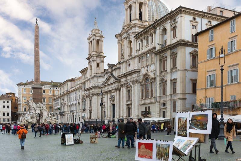 A praça Navona é um quadrado o centro de Roma, Itália fotografia de stock royalty free
