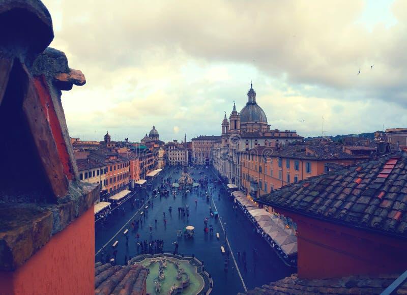 Praça Navona em Roma foto de stock