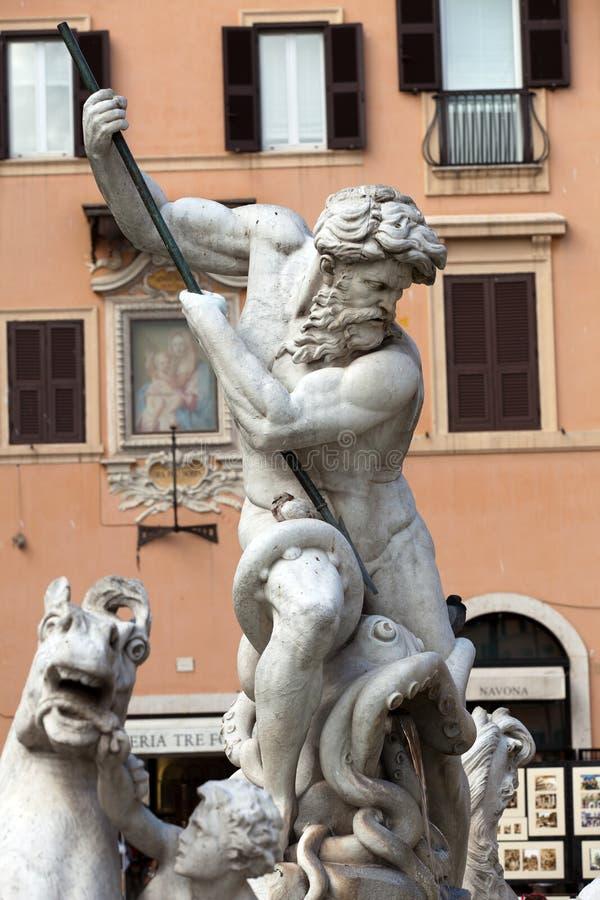 Praça Navona, fonte de Netuno em Roma, foto de stock royalty free
