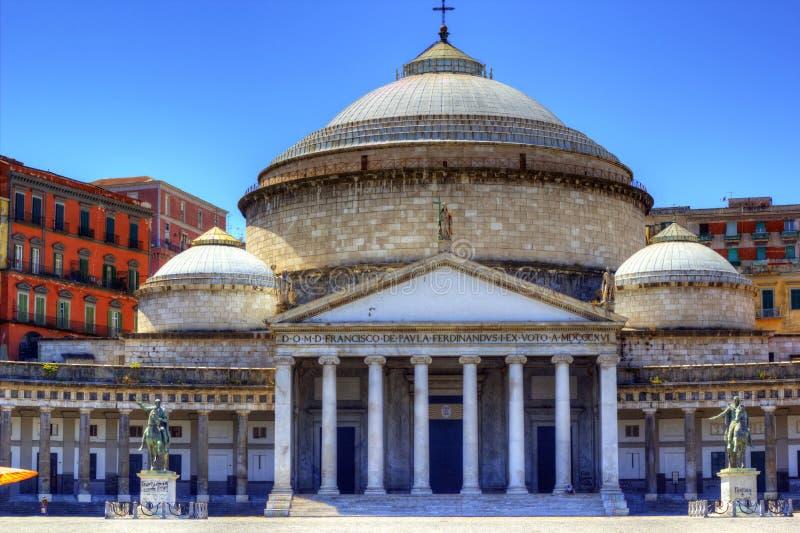 Praça Plebiscito, Nápoles imagens de stock
