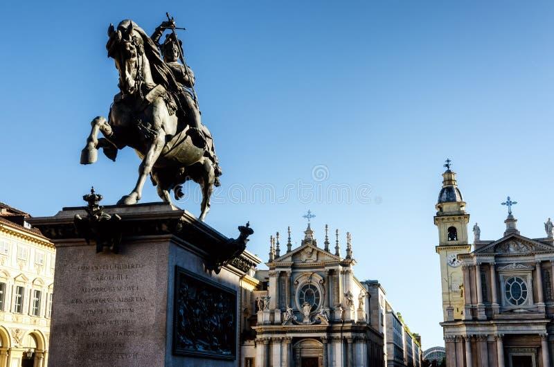 Praça San Carlo de Turin fotos de stock royalty free
