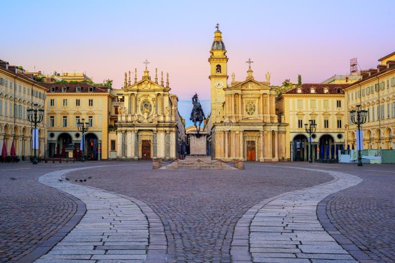 Praça San Carlo e igrejas gêmeas no centro da cidade de Turin, imagem de stock royalty free