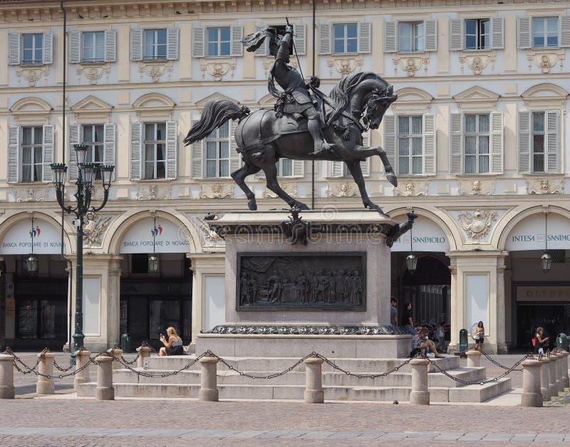 Praça San Carlo em Turin fotos de stock royalty free