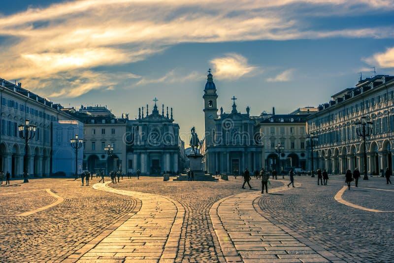 Praça San Carlo, Turin, Itália fotos de stock royalty free