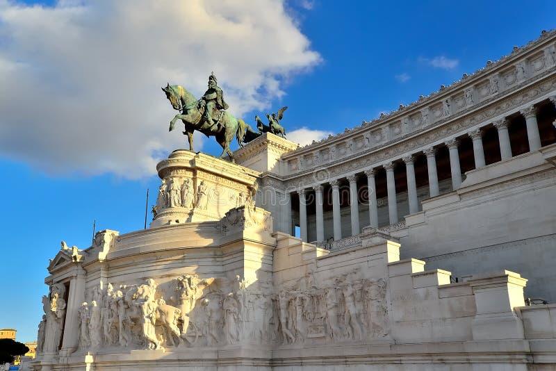 Praça Venezia Roma Vittorio Emanuele Monument Facade fotografia de stock royalty free