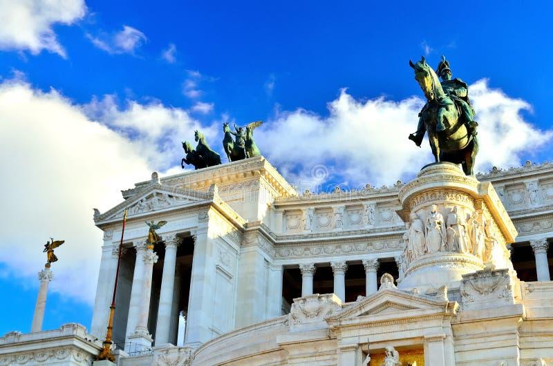 Praça Venezia Roma Vittorio Emanuele Monument Front Statue fotografia de stock