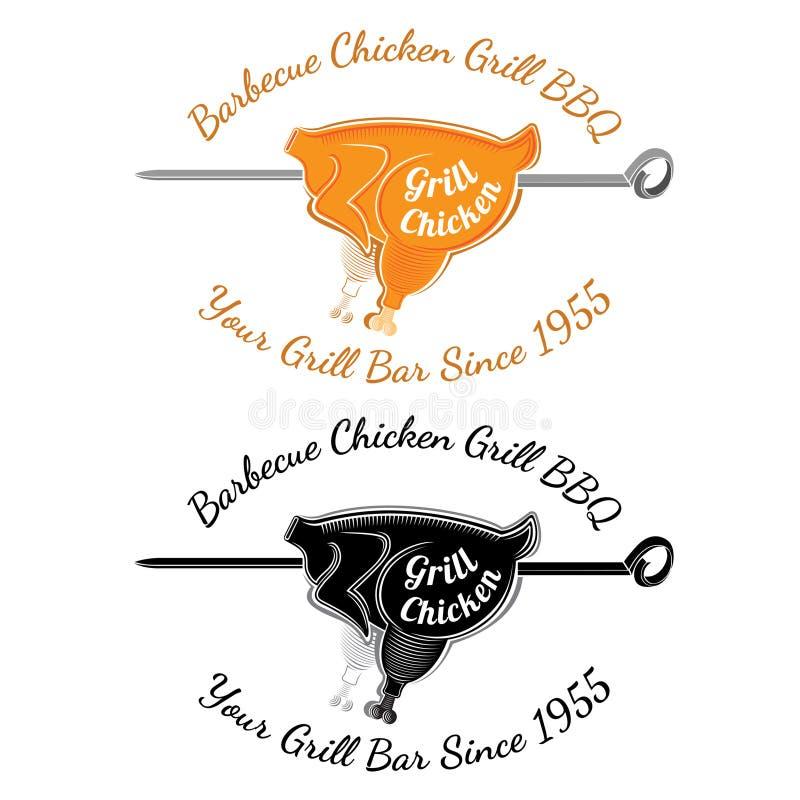 Prażaka kurczaka ścierwo na rozłamu z teksta grilla kurczakiem Bbq baru restauracyjna etykietka ilustracja wektor
