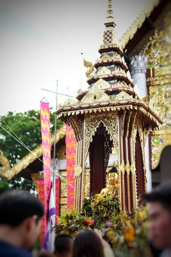 `Pra Chao Fon San Ha` from Chang Tam temple in Inthakin city pillar festival Sai Khan Dok. Buddha of rain or Thai say `Pra Chao Fon San Ha` from Chang Tam royalty free stock photography