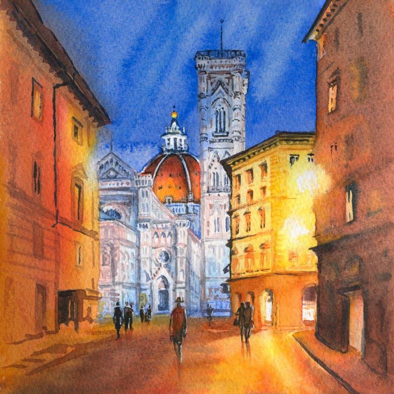 Pra?a del Domo em Floren?a, Italy ilustração stock