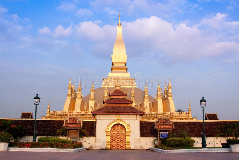 Pra tat luang pagoda on the sunset. stock images