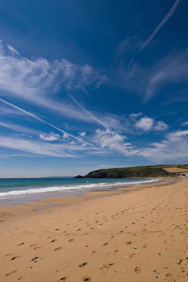 Praa sandstrand, Cornwall, Förenade kungariket arkivfoto