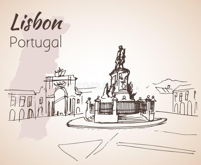 Praaa faz o quadrado de Comercio lisboa portugal ilustração royalty free