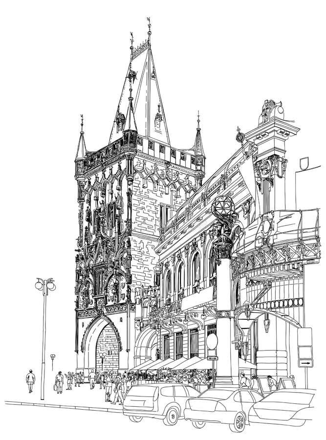 Praag - de Toren van het Poeder & Gemeentelijk Huis vector illustratie