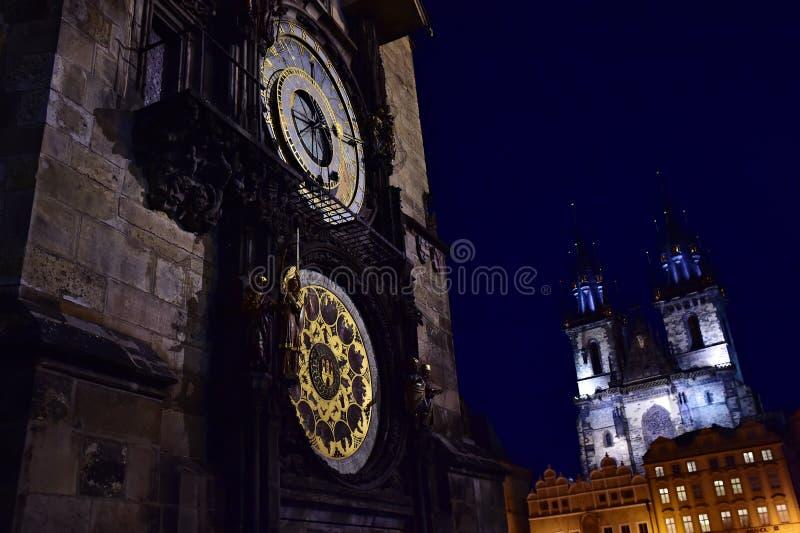 Praag Orloj - de astronomische klok van Praag stock foto