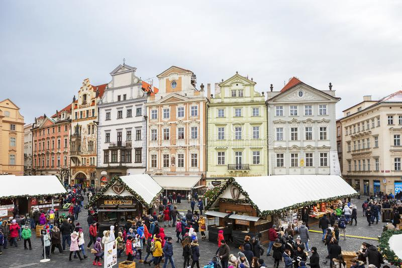 Praag, Tsjechische Republiek, architectuur van gebouwen op Stare Mesto Vierkant stock afbeelding