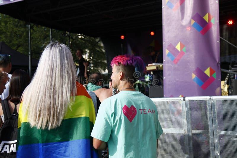 Praag/Tsjechische Republiek - 11 Augustus 2018: LGBT Pride March royalty-vrije stock afbeeldingen
