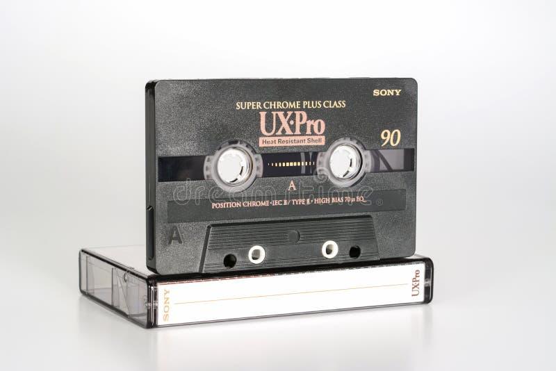 PRAAG, TSJECHISCHE REPUBLIEK - 20 FEBRUARI, 2019: Audio compact UX-Pro super chroom 90 van cassettesony plus klasse, Hittebestend royalty-vrije stock afbeelding