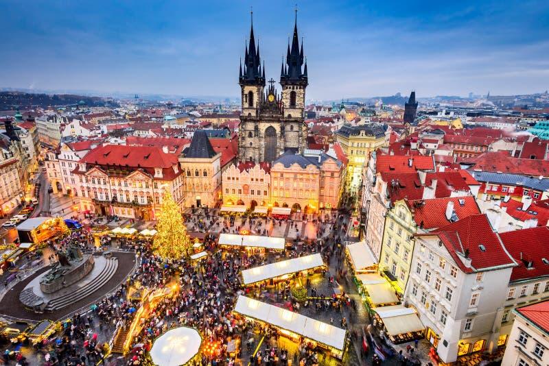 Praag, Tsjechische Republiek - Kerstmismarkt stock fotografie