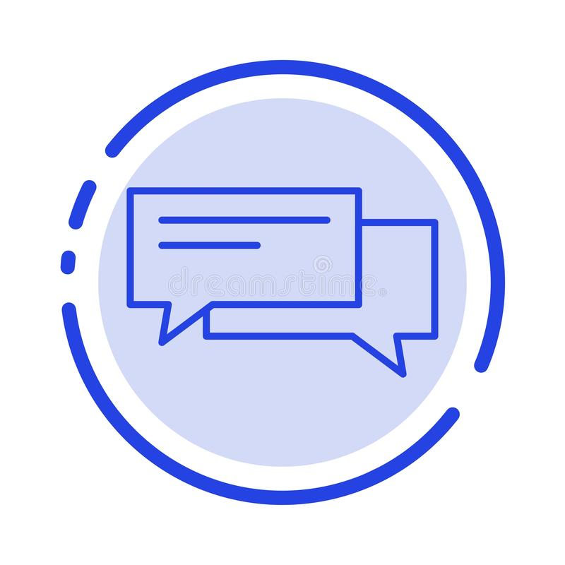Praatje, Bel, Bellen, Mededeling, Gesprek, Sociaal, de Lijnpictogram van de Toespraak Blauw Gestippelde Lijn vector illustratie
