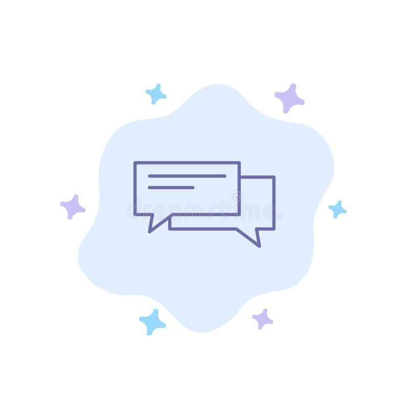 Praatje, Bel, Bellen, Mededeling, Gesprek, Sociaal, Toespraak Blauw Pictogram over Abstracte Wolkenachtergrond stock illustratie