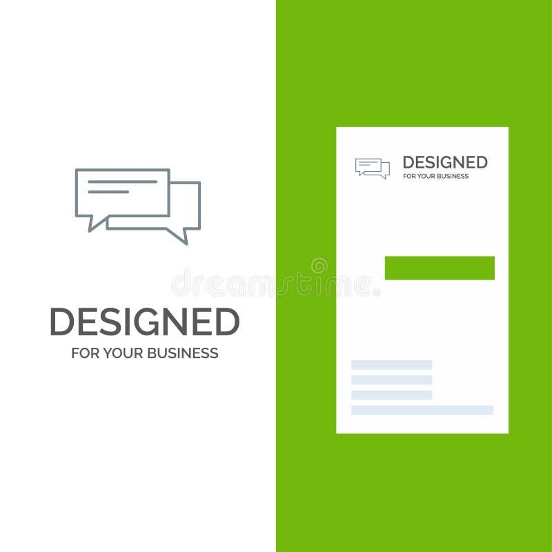 Praatje, Bel, Bellen, Mededeling, Gesprek, Sociaal, Toespraak Grey Logo Design en Visitekaartjemalplaatje royalty-vrije illustratie
