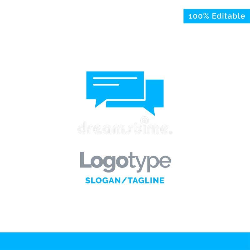 Praatje, Bel, Bellen, Mededeling, Sociaal Gesprek, Toespraak Blauw Stevig Logo Template Plaats voor Tagline stock illustratie