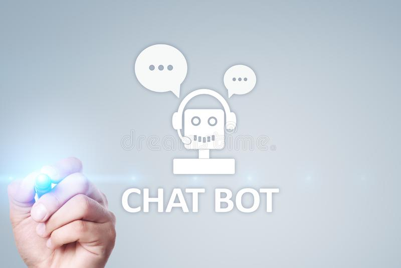 Praatje bot, Ai, Kunstmatige intelligentie en automatiseringstechnologie in de dienst en steun Bedrijfsinnovatie royalty-vrije stock fotografie