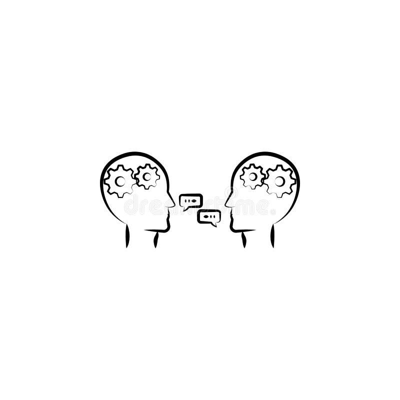 praatje, communicatie hand getrokken pictogram Overzichtsknopontwerp van bedrijfsreeks stock illustratie
