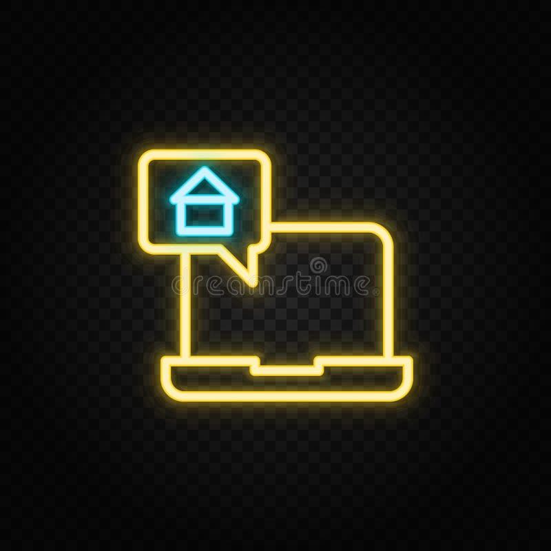praatje, dialoog, huis neon pictogram Blauw en geel neonvectorpictogram royalty-vrije illustratie