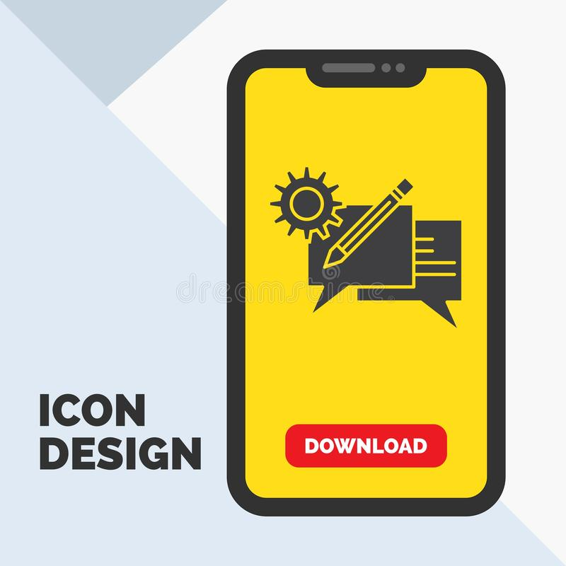 praatje, mededeling, bespreking, het plaatsen, het Pictogram van berichtglyph in Mobiel voor Downloadpagina Gele achtergrond royalty-vrije illustratie