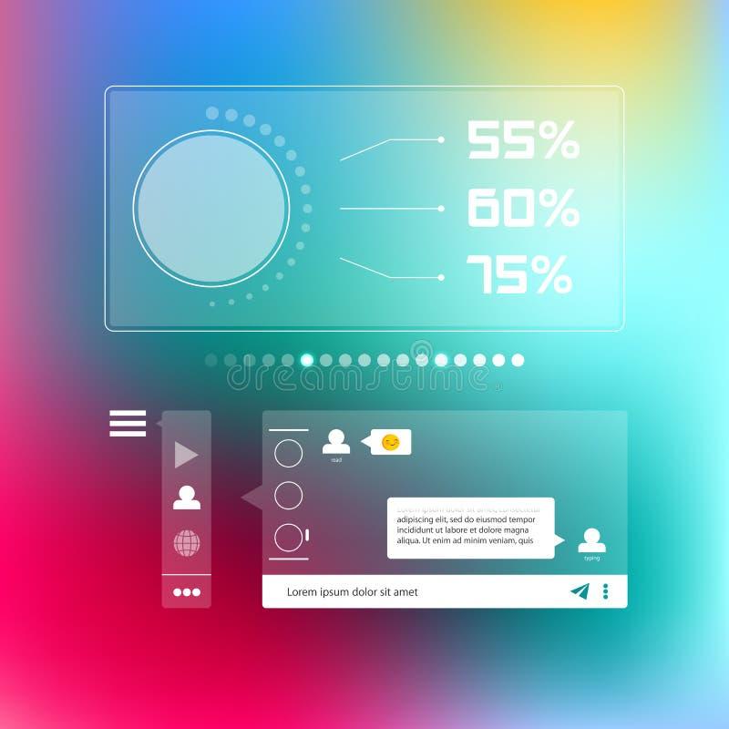 Praatje messendger sociaal infographic malplaatje royalty-vrije illustratie