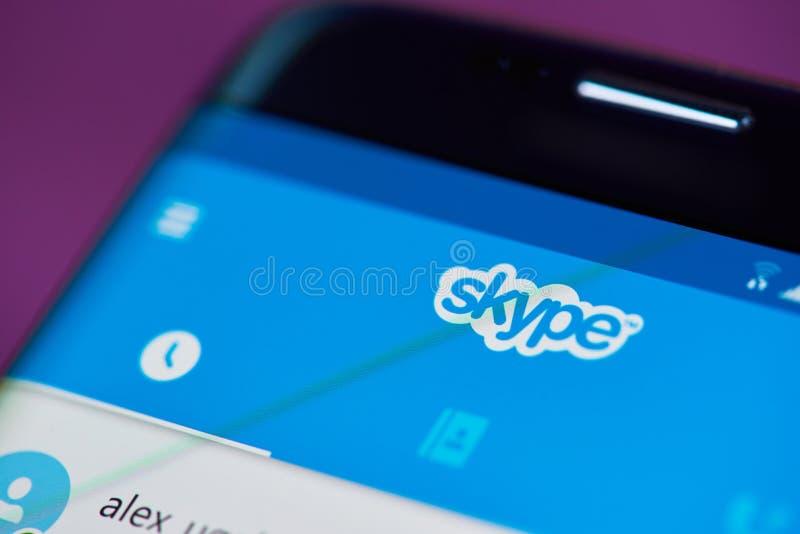 Praatje op skypetoepassing royalty-vrije stock foto