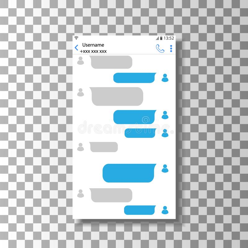 Praatje op uw smartphone De interface van de correspondentie online correspondentie royalty-vrije illustratie