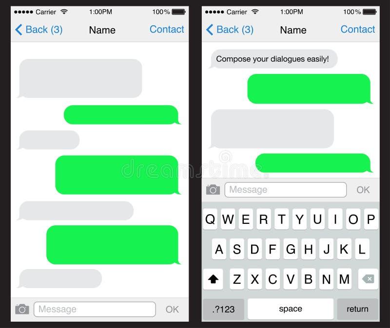 Praatje/sms toepassingsmalplaatje stock illustratie