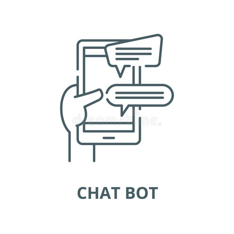 Praatjebot lijnpictogram, vector Praatjebot overzichtsteken, conceptensymbool, vlakke illustratie royalty-vrije illustratie