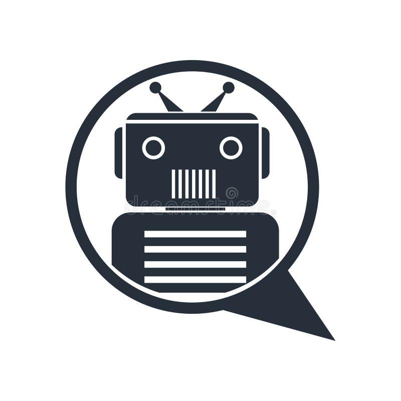 Praatjebot pictogram vectordieteken en symbool op witte achtergrond, Praatjebot embleemconcept wordt geïsoleerd stock illustratie