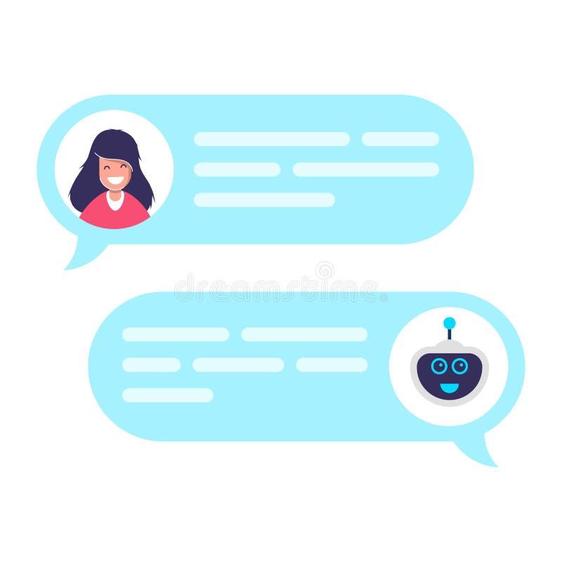 Praatjebot robotconcept Dialoog met technische ondersteuning Mededeling over Internet of de sociale netwerken Online stock illustratie