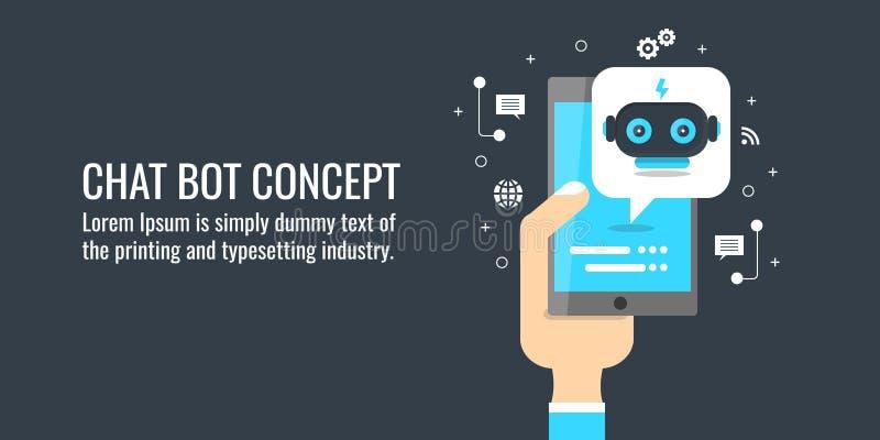 Praatjebot technologieconcept, mens die met een praatje bot op een slimme telefoon babbelen Vlakke ontwerp vectorbanner vector illustratie