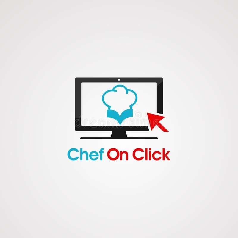 Praatjechef-kok met de vector, het pictogram, het element, en het malplaatje van het bellenembleem voor bedrijf royalty-vrije illustratie