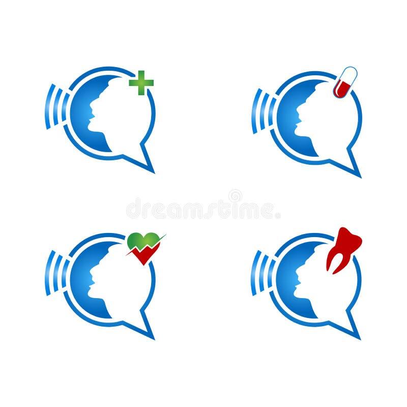 Praatjepictogram met persoon Bespreking over gezondheid vector illustratie