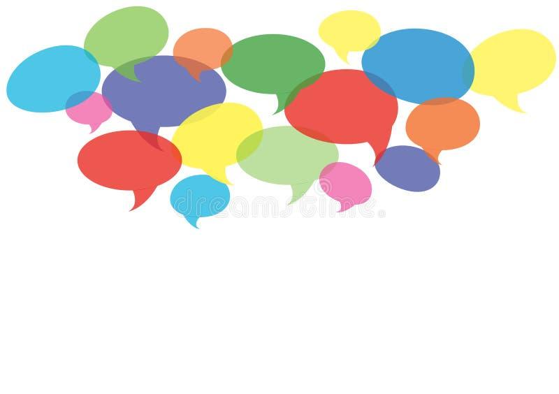 Praatjesymbool, communicatie achtergrondvector stock illustratie