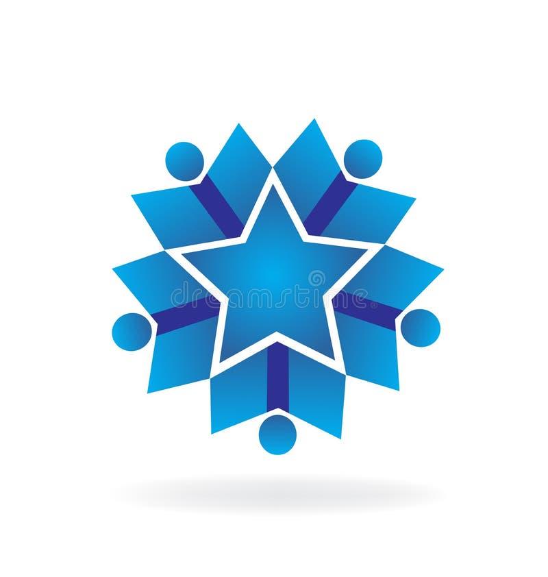 Prac zespołowych dzieci błękitne postacie, gwiazdowy osiągnięcie ikony wektor ilustracja wektor