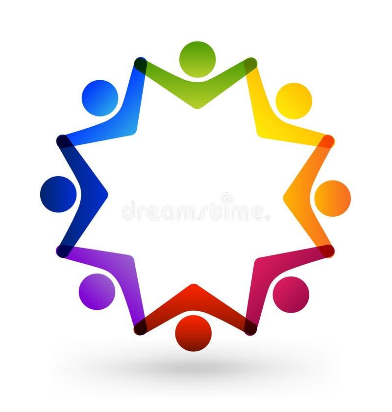 Prac zespołowych dzieci gwiazdy grupa, wektorowy logo ilustracji