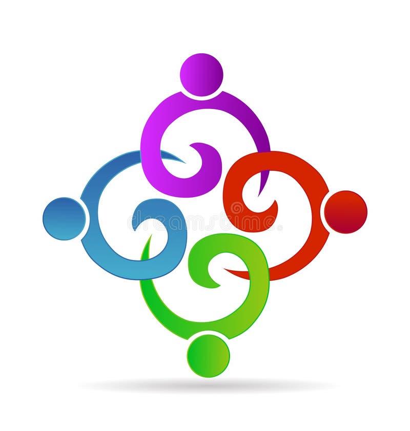 Prac zespołowych ludzie trzyma ręki w biznesu, spotkania, przyjęcia lub jedności dzieci pojęcia symboli/lów wektoru ikonach, ilustracji